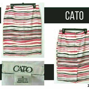 Cato Women 8 (32 x 23) Lined Pencil Skirt Striped